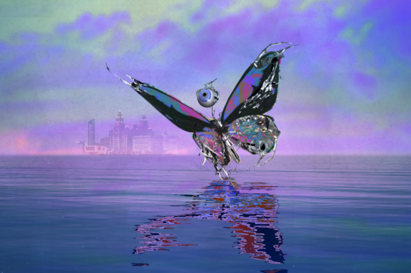 Computer generated butterfly with human eyeball on top, gliding across purple river