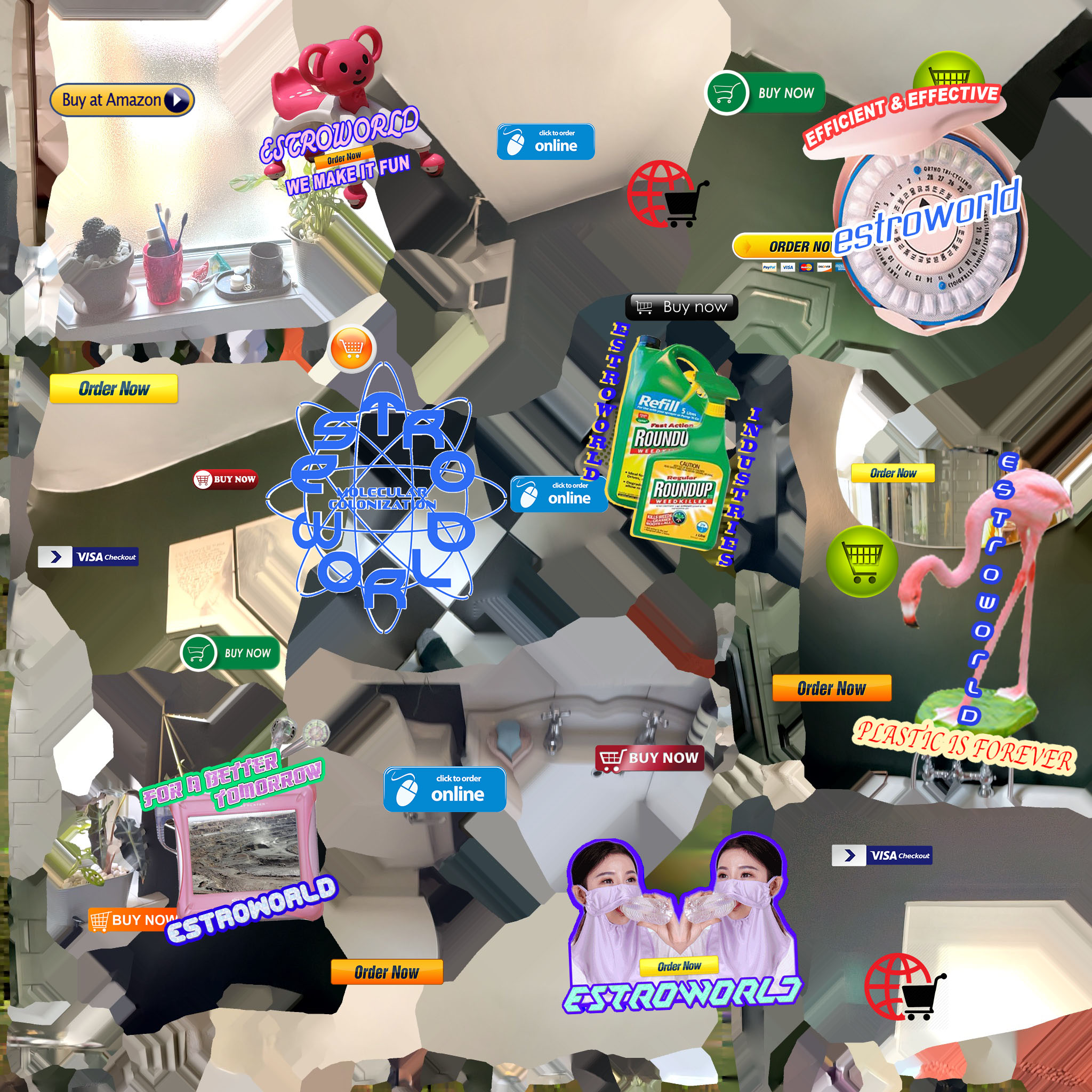 Digital collage of ecommerce items and the word estroworld
