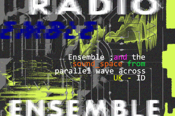 Black, blue and green graphic with Radio Ensemble written in white