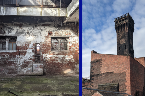 Twe images of a hydraulic tower