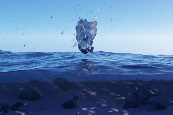 Digital images of plastic above seawater