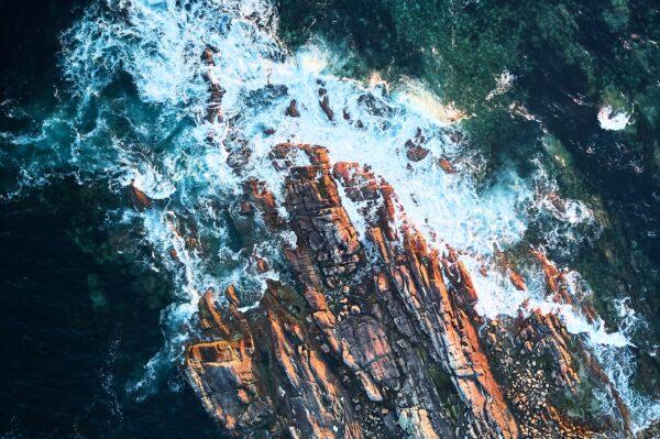Water crashing on rocks