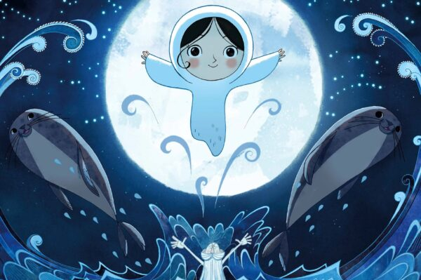 Animated picture of child in front of the moon with two seals either side